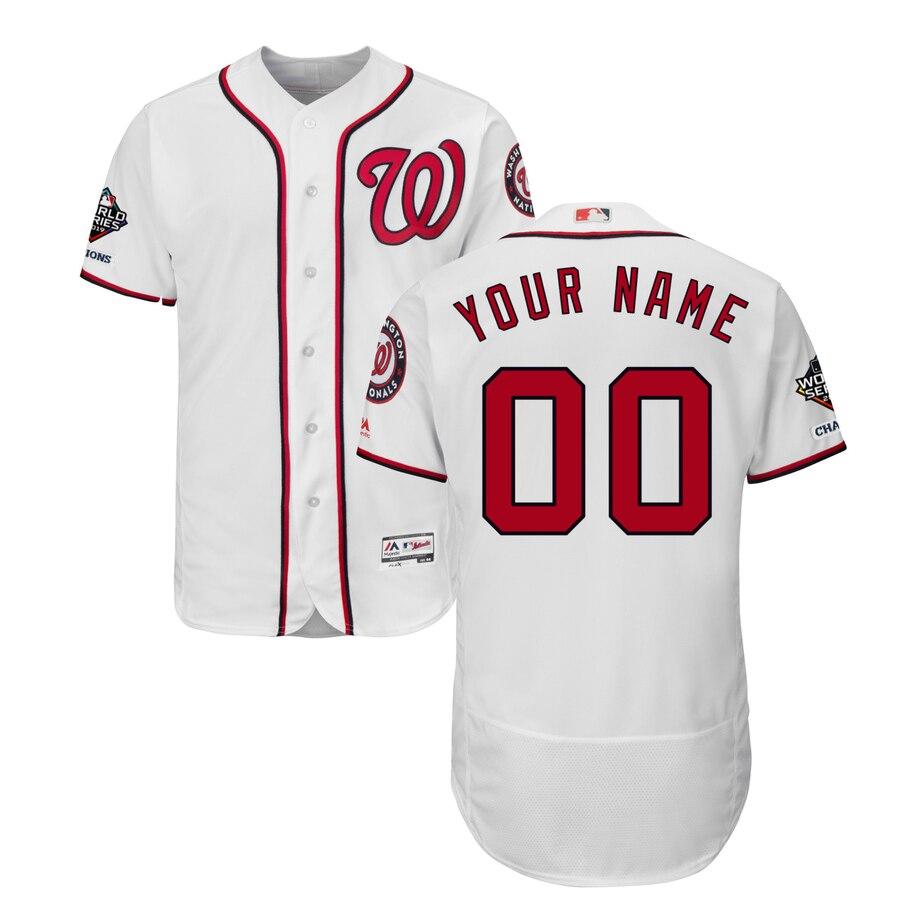 Washington Nationals Majestic 2019 World Series Champions Home Authentic Flex Base Custom Jersey White