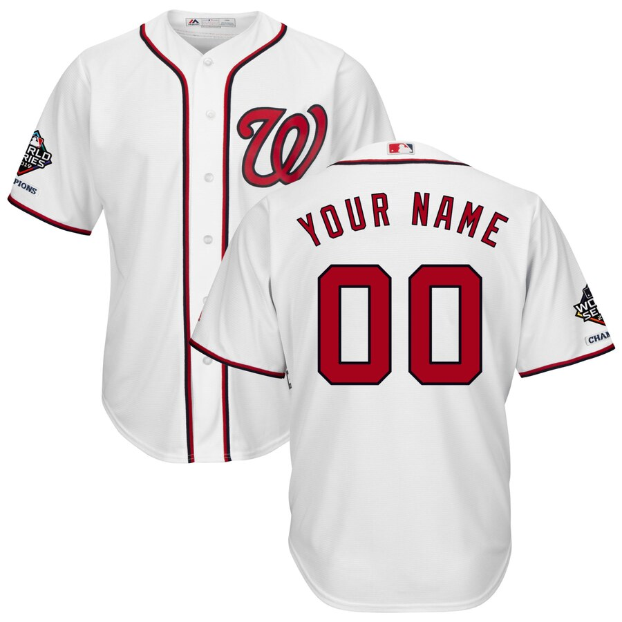 Washington Nationals Majestic 2019 World Series Champions Home Official Cool Base Custom Jersey White