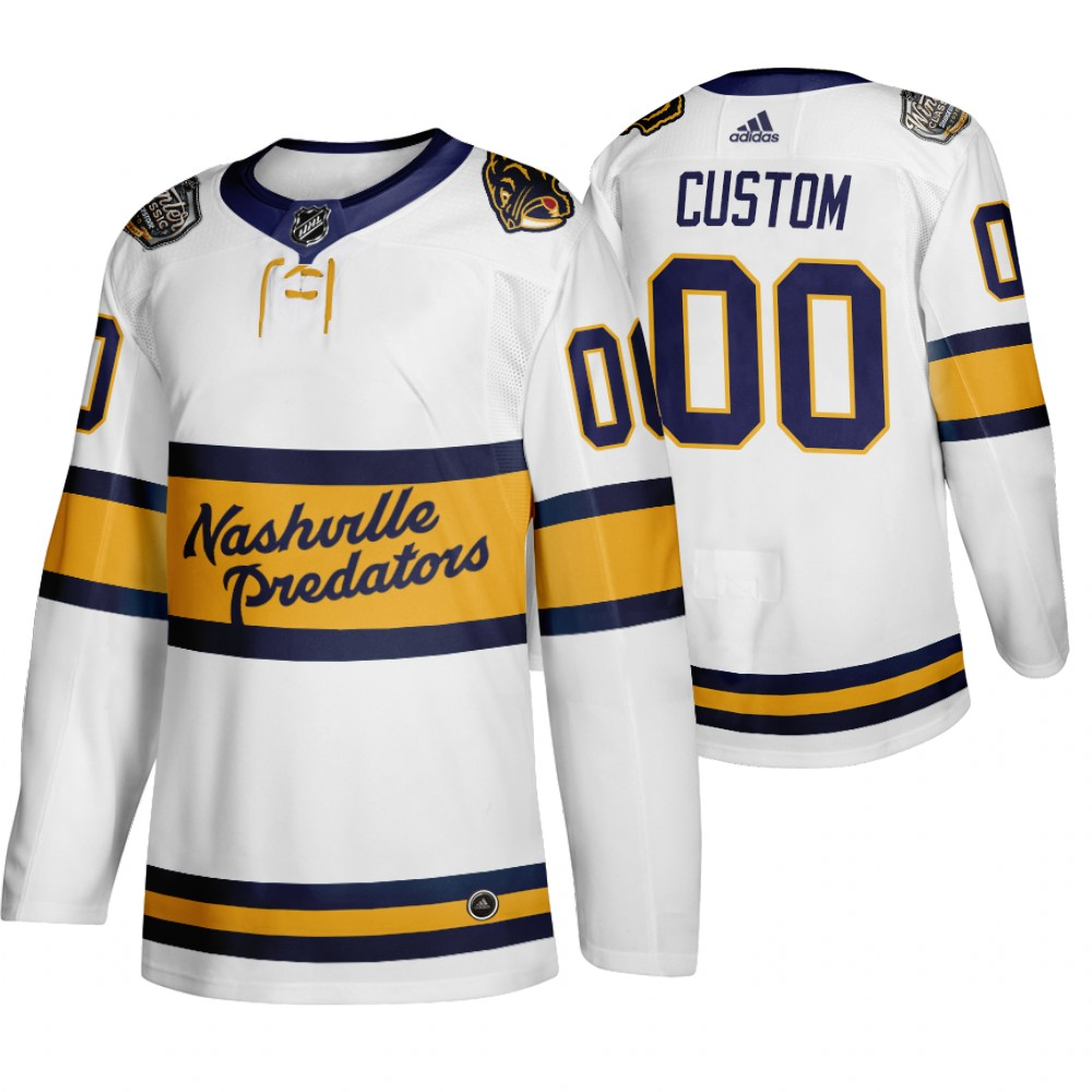 Adidas Predators Custom Men's White 2020 Winter Classic Retro Authentic NHL Jersey