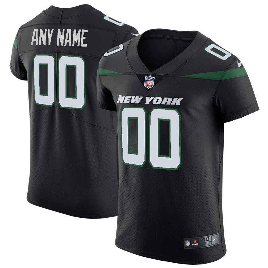 Nike New York Jets Customized Stealth Black Stitched Vapor Untouchable Elite Men's NFL Jersey