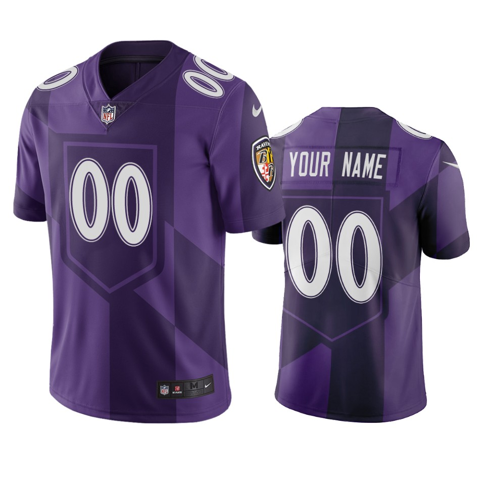 Baltimore Ravens Custom Purple Vapor Limited City Edition NFL Jersey