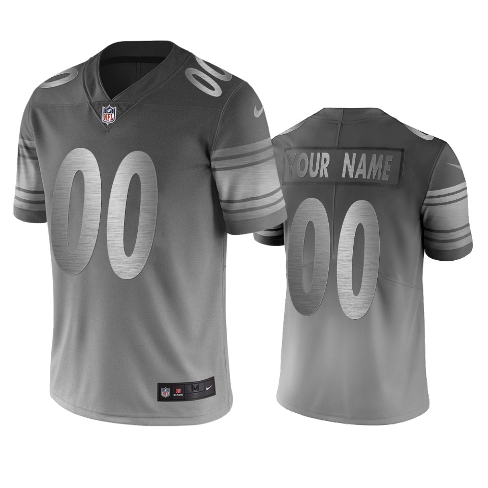 Pittsburgh Steelers Custom Silver Gray Vapor Limited City Edition NFL Jersey