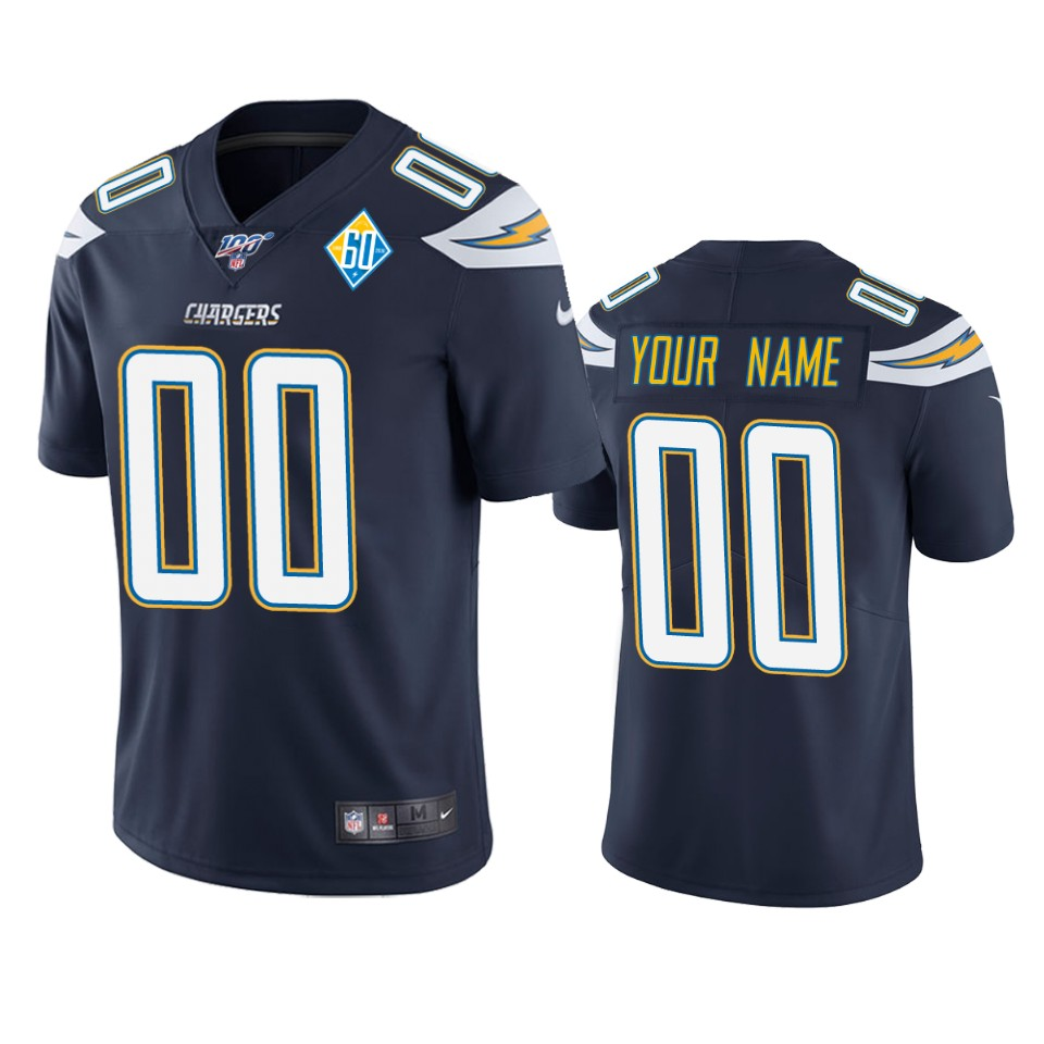 Los Angeles Chargers Custom Navy 60th Anniversary Vapor Limited NFL Jersey