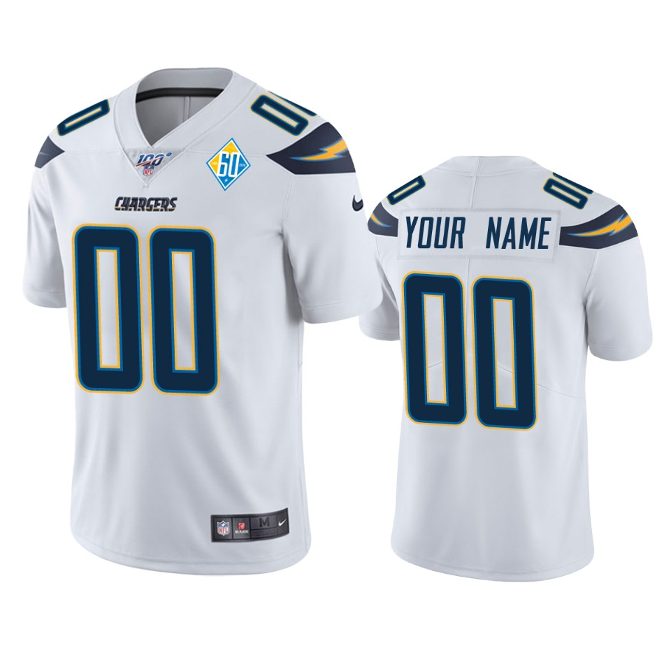 Los Angeles Chargers Custom White 60th Anniversary Vapor Limited NFL Jersey