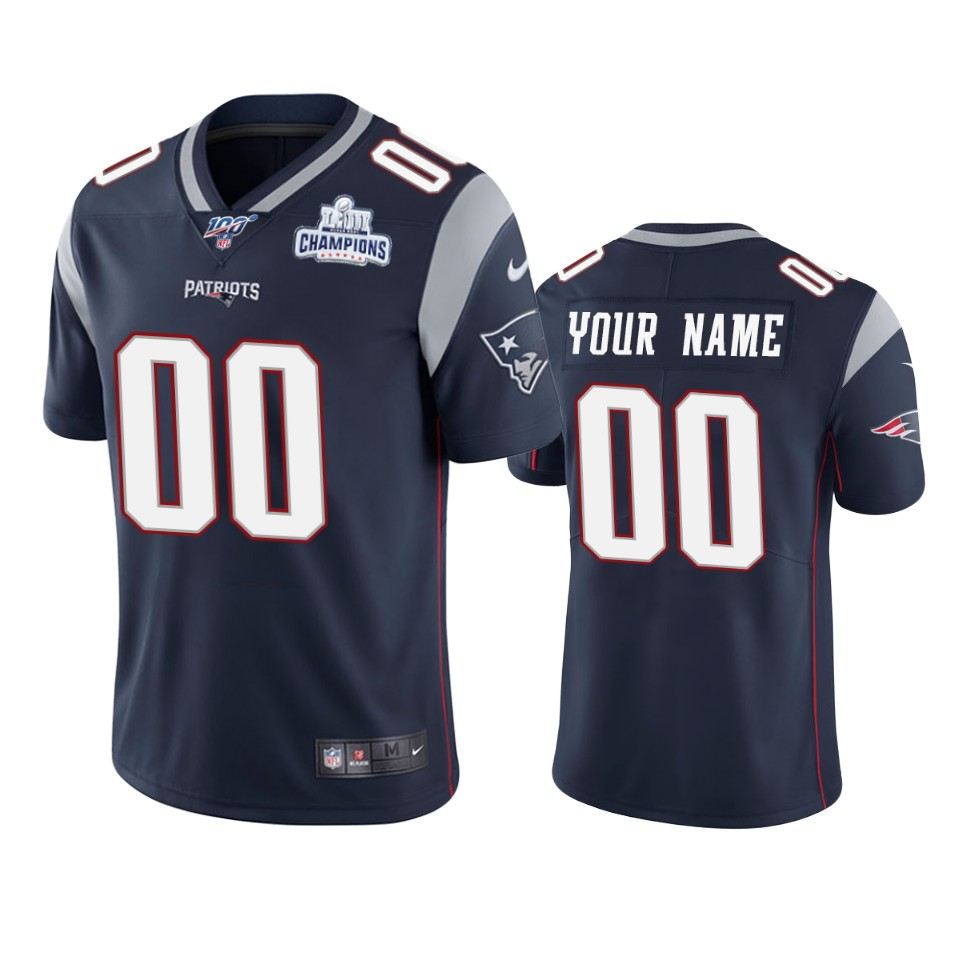 New England Patriots Custom Navy Super Bowl LIII Champions Vapor Limited NFL Jersey