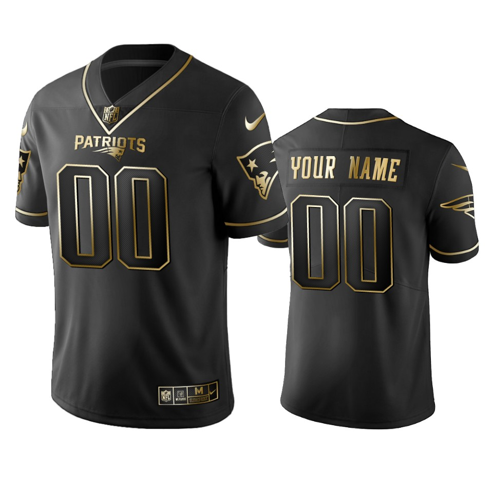 Nike Patriots Custom Black Golden Limited Edition Stitched NFL Jersey