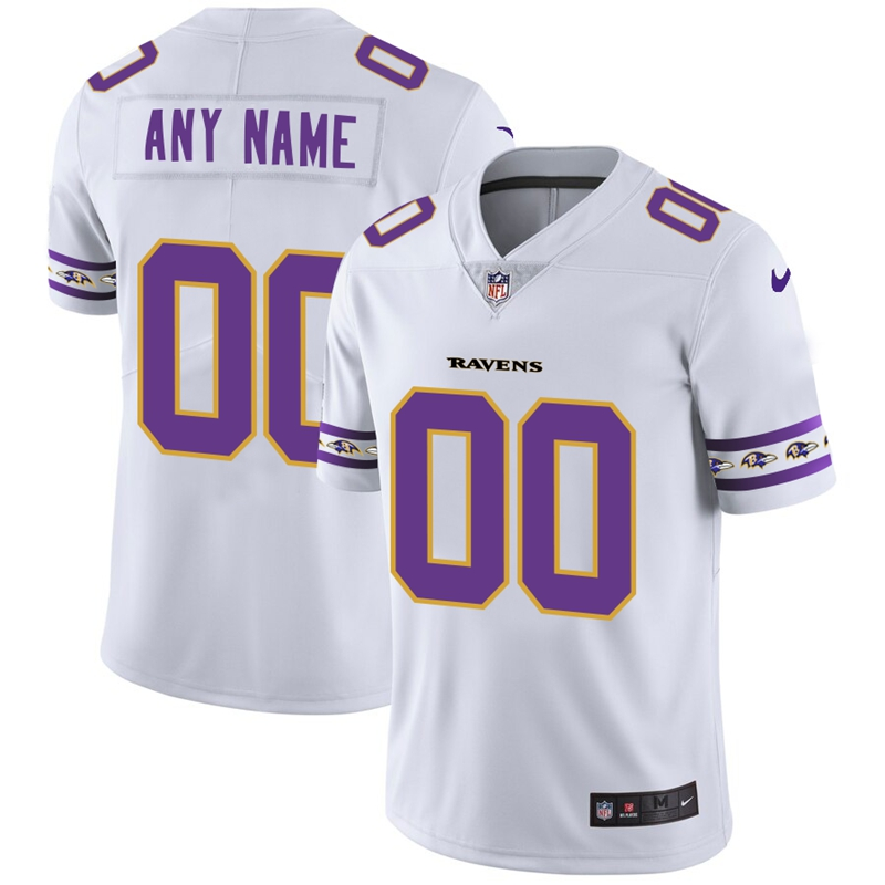 Baltimore Ravens Custom Nike White Team Logo Vapor Limited NFL Jersey