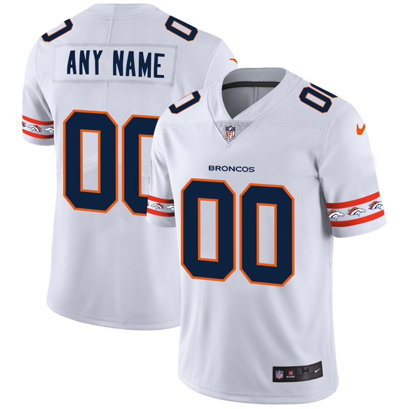 Denver Broncos Custom Nike White Team Logo Vapor Limited NFL Jersey