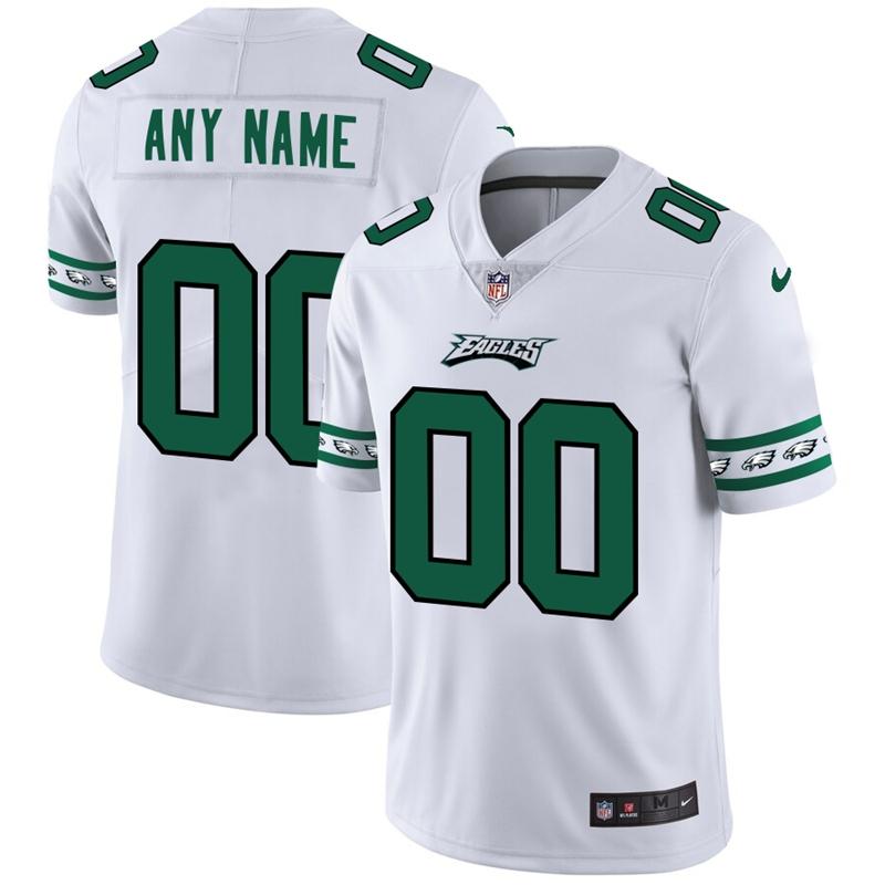 Philadelphia Eagles Custom Nike White Team Logo Vapor Limited NFL Jersey