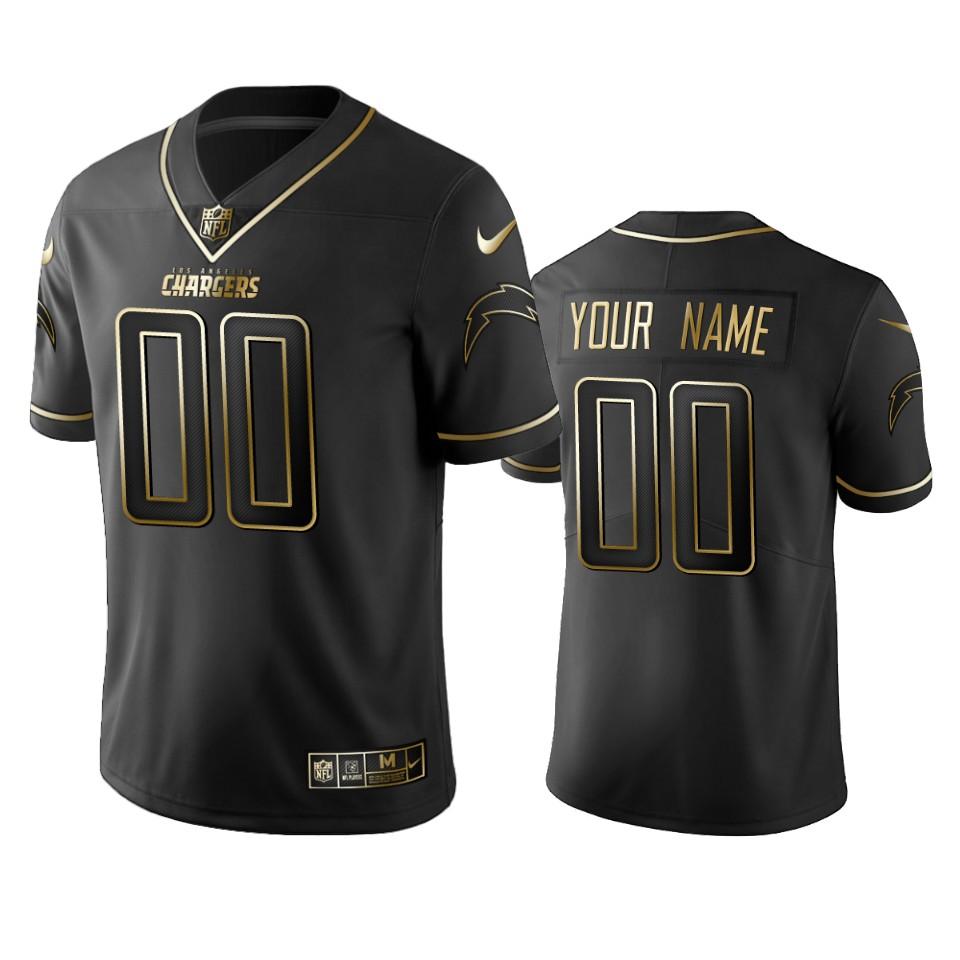 Chargers Custom Men's Stitched NFL Vapor Untouchable Limited Black Golden Jersey