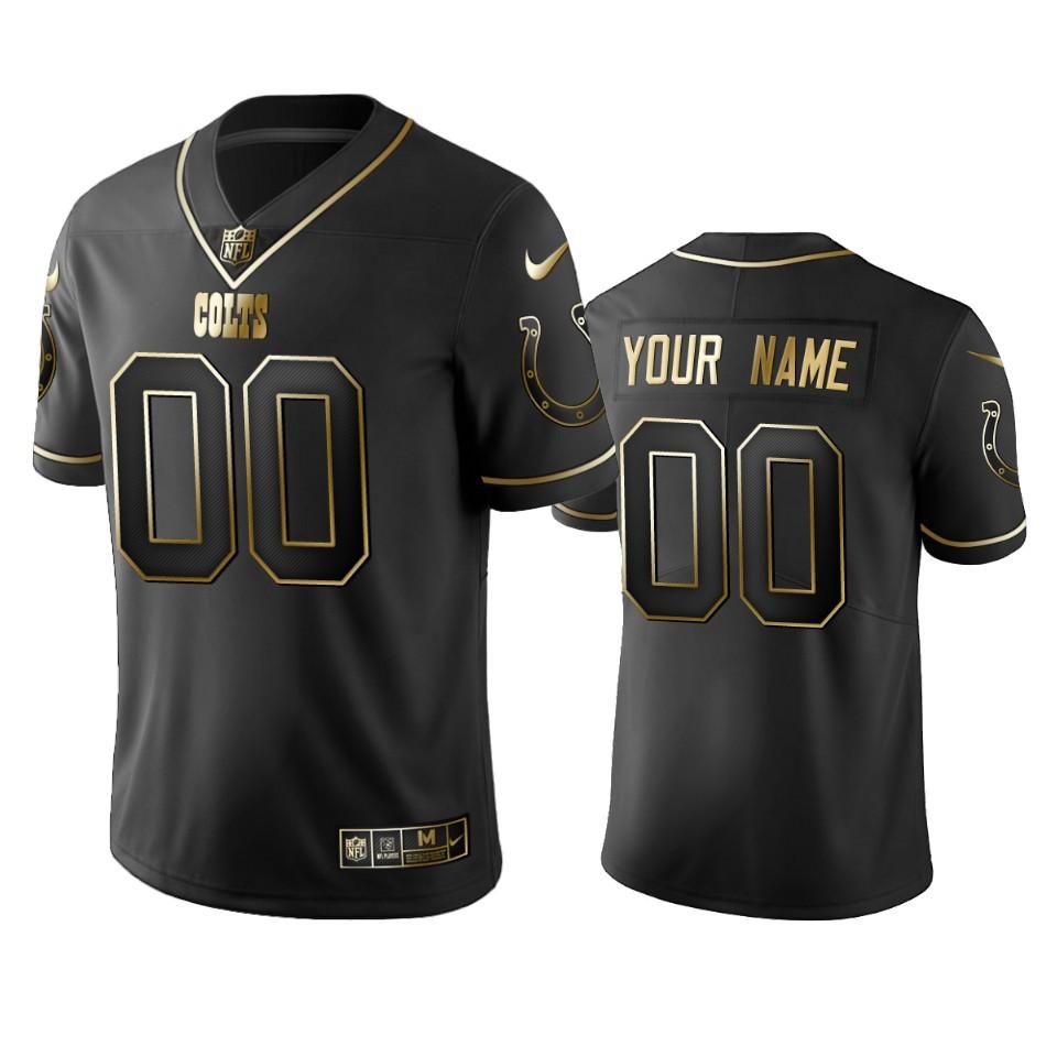 Colts Custom Men's Stitched NFL Vapor Untouchable Limited Black Golden Jersey