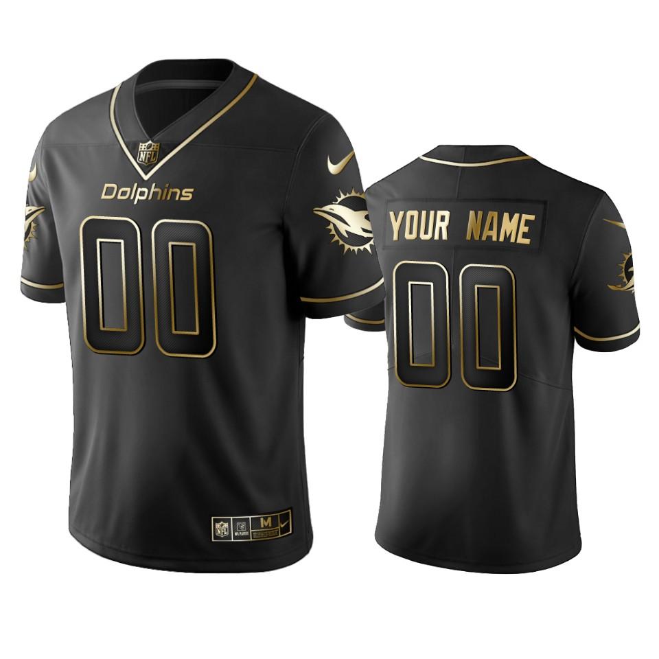 Dolphins Custom Men's Stitched NFL Vapor Untouchable Limited Black Golden Jersey