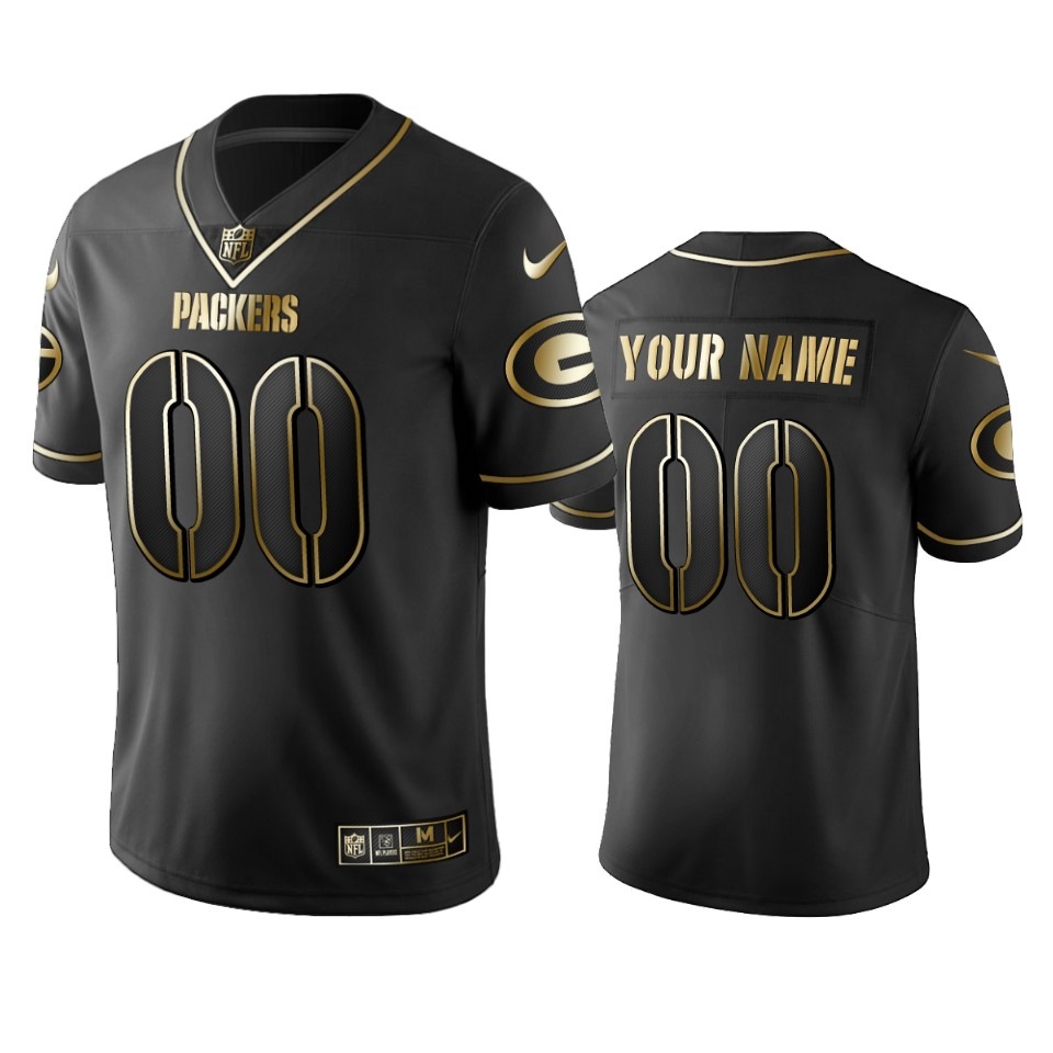 Packers Custom Men's Stitched NFL Vapor Untouchable Limited Black Golden Jersey
