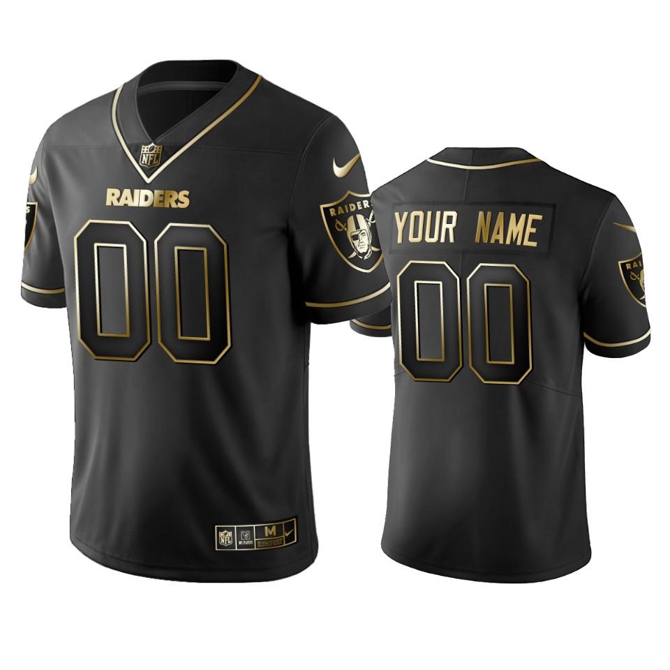 Raiders Custom Men's Stitched NFL Vapor Untouchable Limited Black Golden Jersey