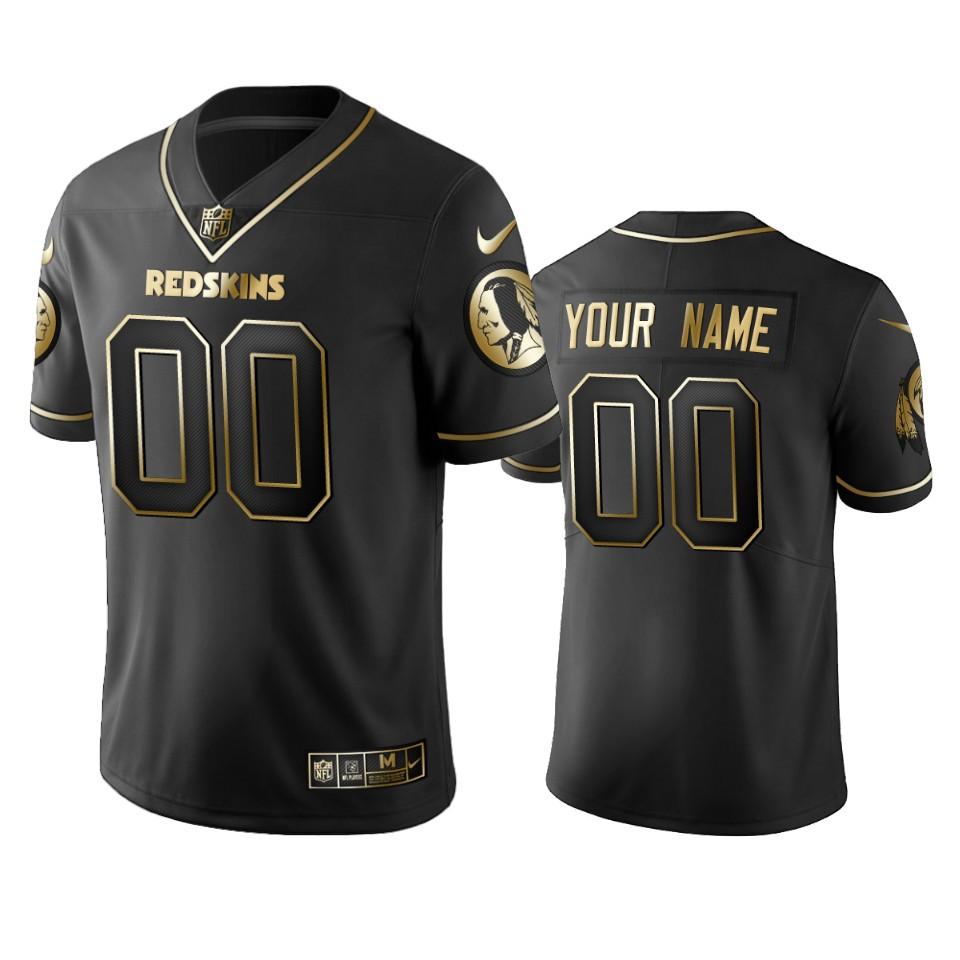 Redskins Custom Men's Stitched NFL Vapor Untouchable Limited Black Golden Jersey