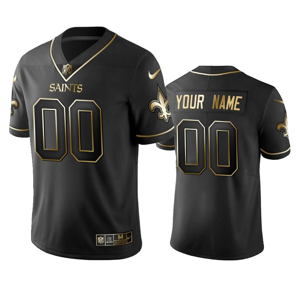 Saints Custom Men's Stitched NFL Vapor Untouchable Limited Black Golden Jersey