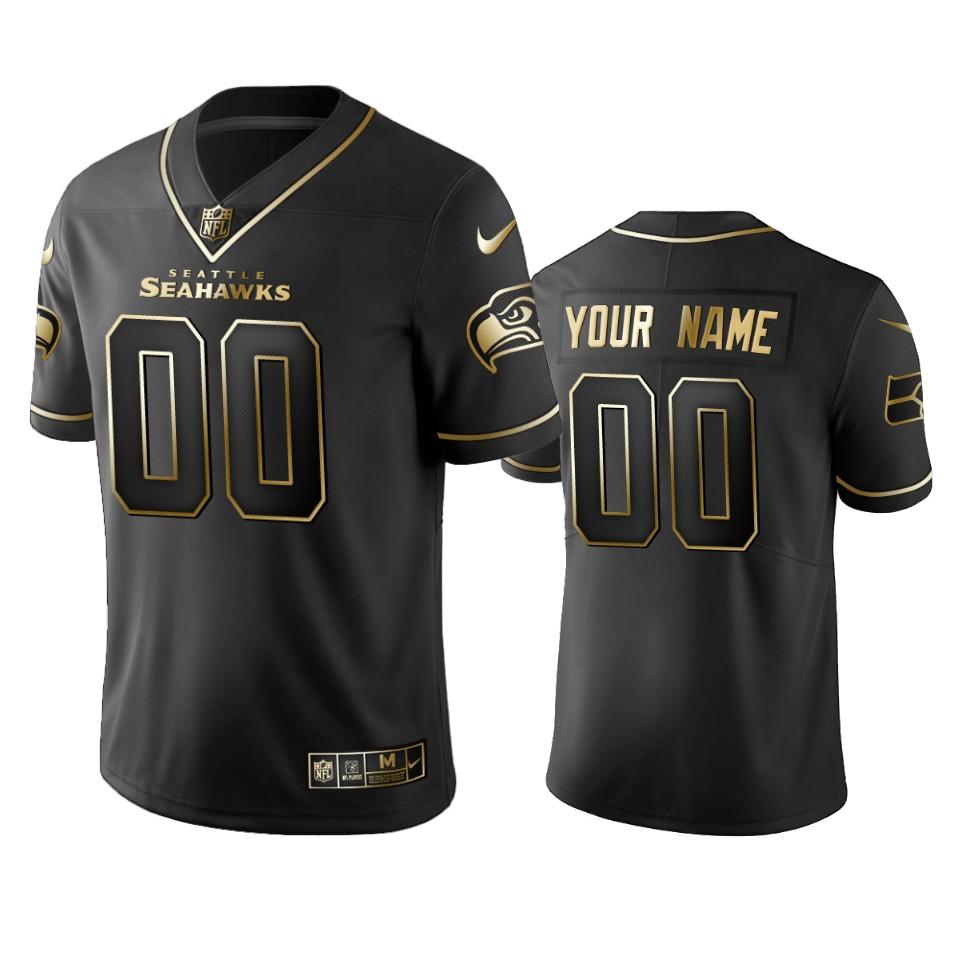 Seahawks Custom Men's Stitched NFL Vapor Untouchable Limited Black Golden Jersey