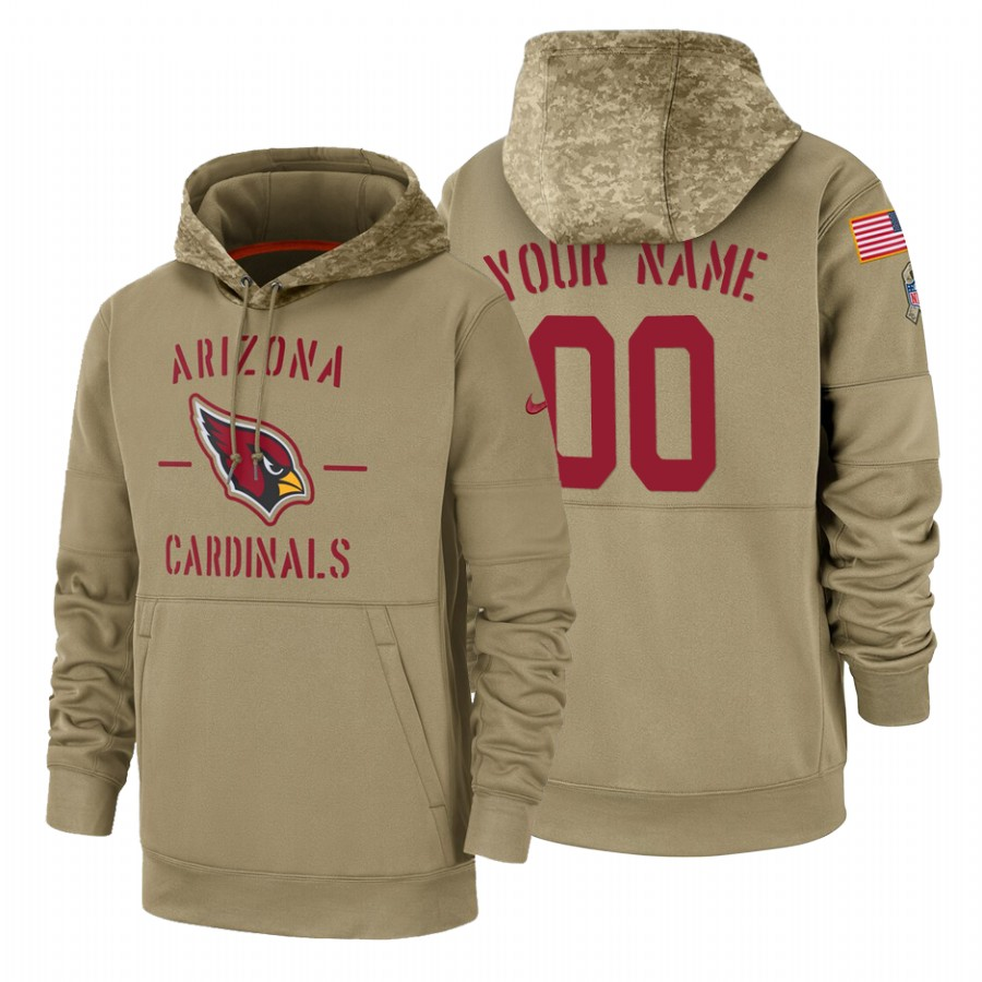 Arizona Cardinals Custom Nike Tan 2019 Salute To Service Name & Number Sideline Therma Pullover Hoodie