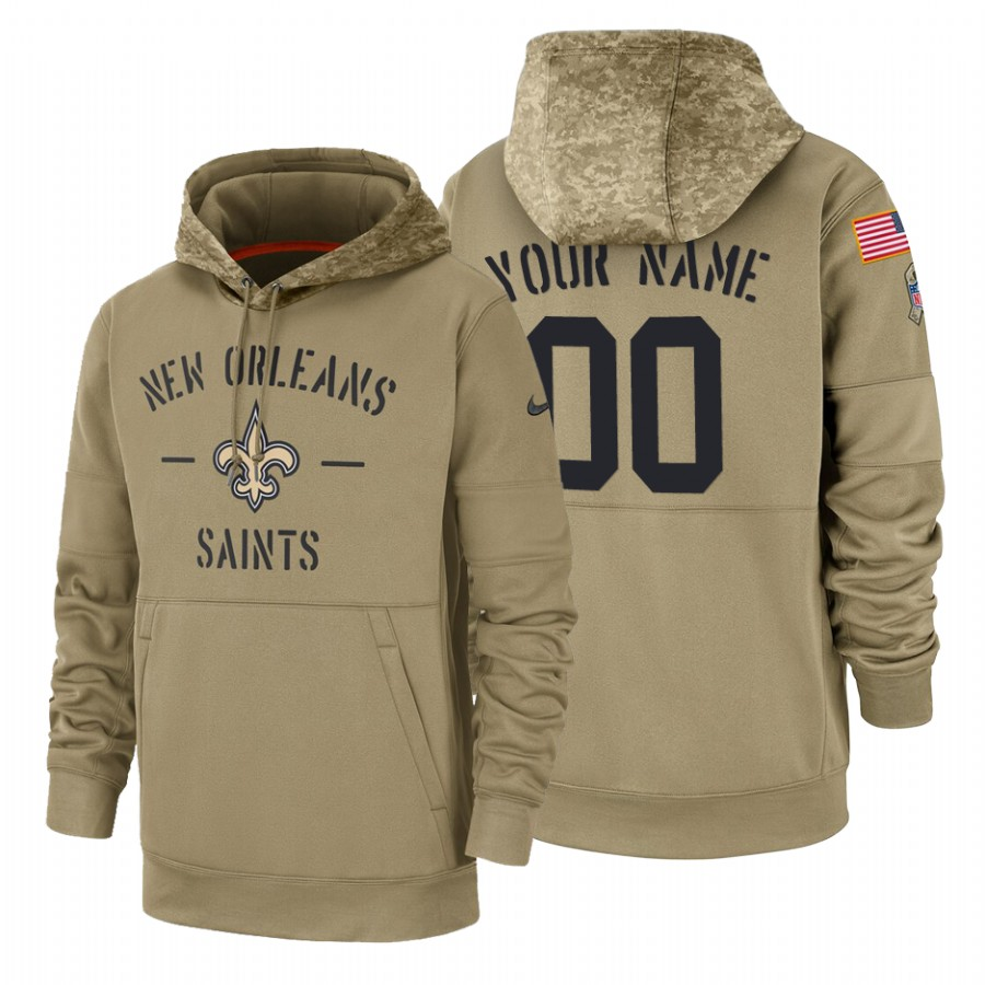 New Orleans Saints Custom Nike Tan 2019 Salute To Service Name & Number Sideline Therma Pullover Hoodie