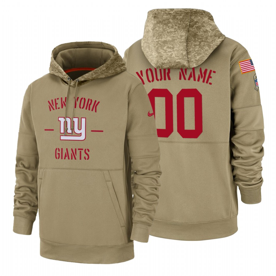 New York Giants Custom Nike Tan 2019 Salute To Service Name & Number Sideline Therma Pullover Hoodie