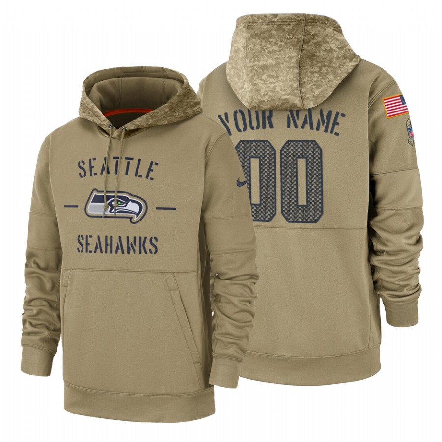 Seattle Seahawks Custom Nike Tan 2019 Salute To Service Name & Number Sideline Therma Pullover Hoodie