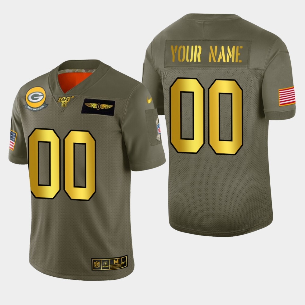 Nike Packers Custom Men's Olive Gold 2019 Salute to Service NFL 100 Limited Jersey