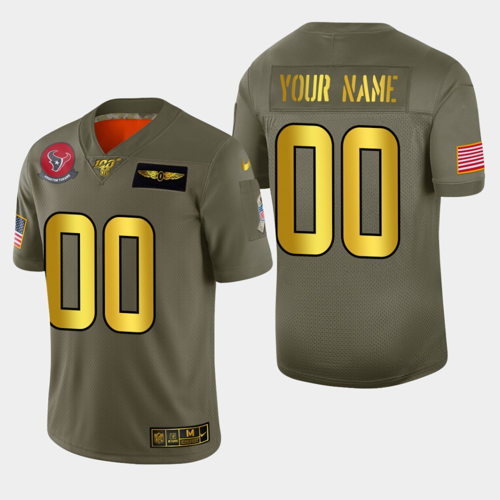Nike Texans Custom Men's Olive Gold 2019 Salute to Service NFL 100 Limited Jersey