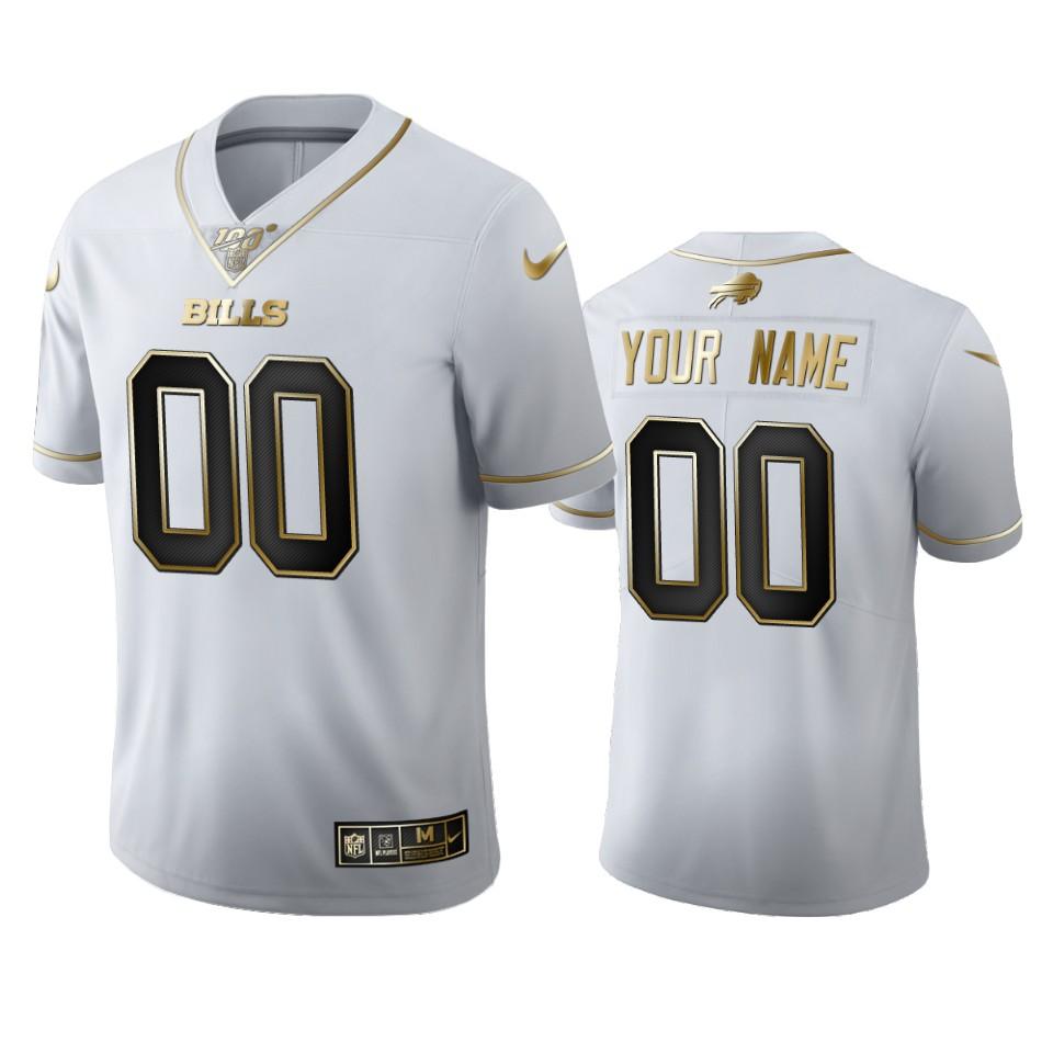 Buffalo Bills Custom Men's Nike White Golden Edition Vapor Limited NFL 100 Jersey