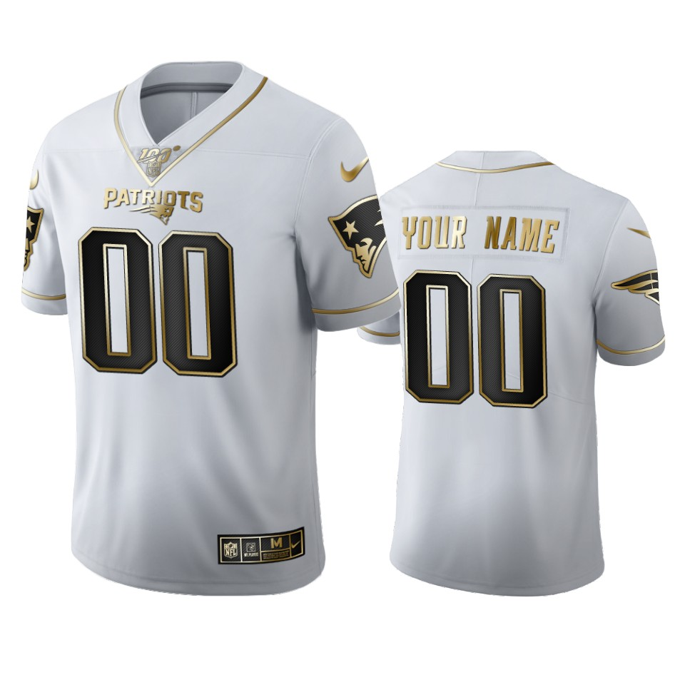 New England Patriots Custom Men's Nike White Golden Edition Vapor Limited NFL 100 Jersey