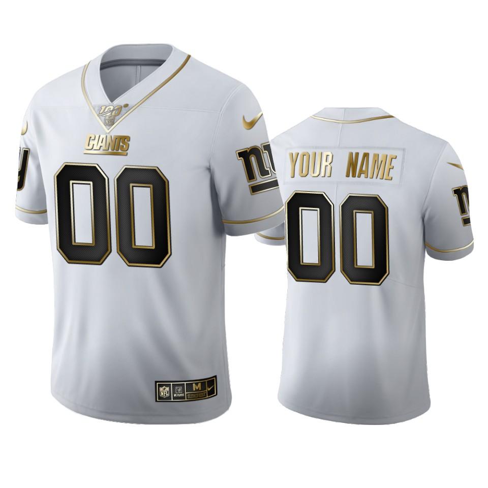 New York Giants Custom Men's Nike White Golden Edition Vapor Limited NFL 100 Jersey
