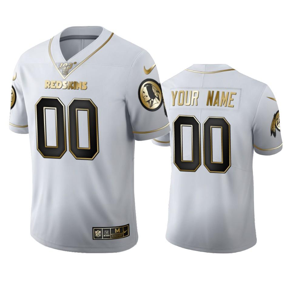 Washington Redskins Custom Men's Nike White Golden Edition Vapor Limited NFL 100 Jersey
