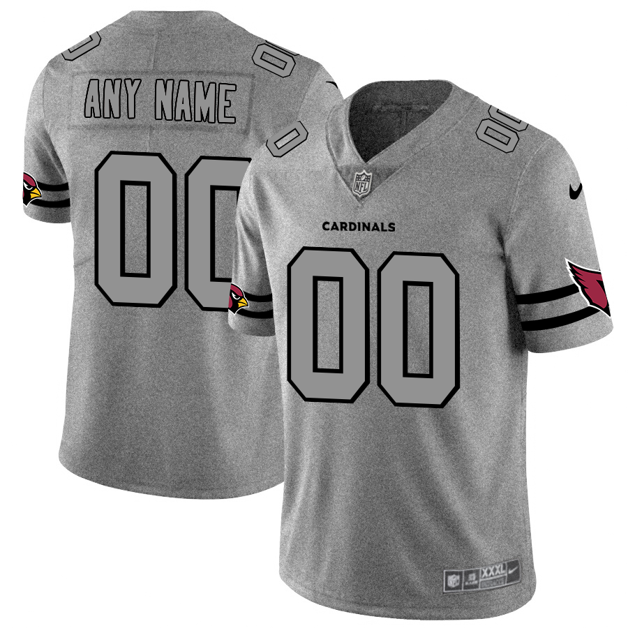 Arizona Cardinals Custom Men's Nike Gray Gridiron II Vapor Untouchable Limited NFL Jersey