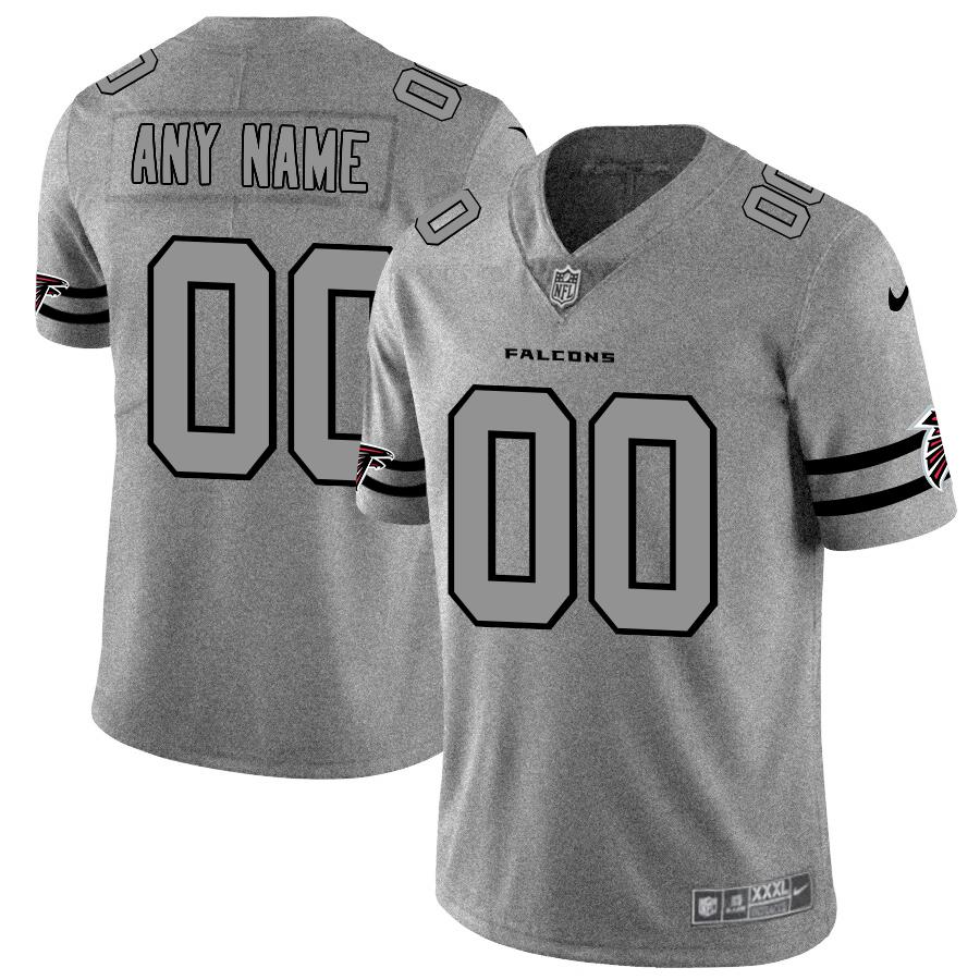 Atlanta Falcons Custom Men's Nike Gray Gridiron II Vapor Untouchable Limited NFL Jersey