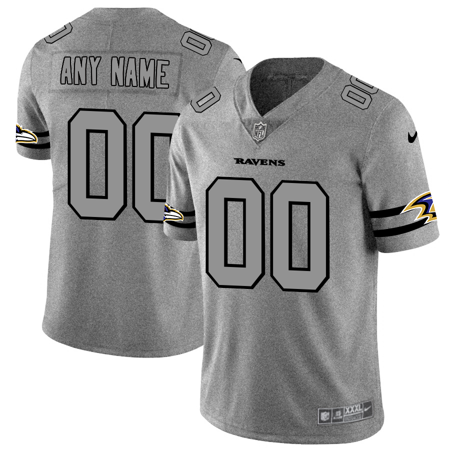 Baltimore Ravens Custom Men's Nike Gray Gridiron II Vapor Untouchable Limited NFL Jersey