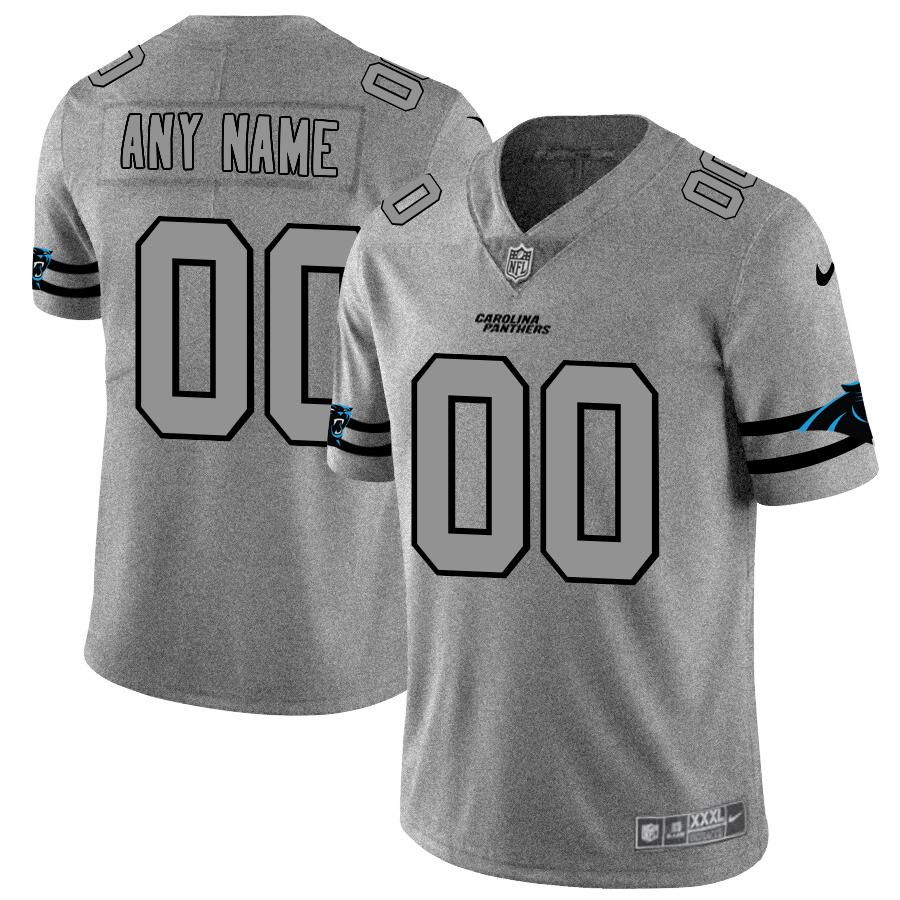Carolina Panthers Custom Men's Nike Gray Gridiron II Vapor Untouchable Limited NFL Jersey