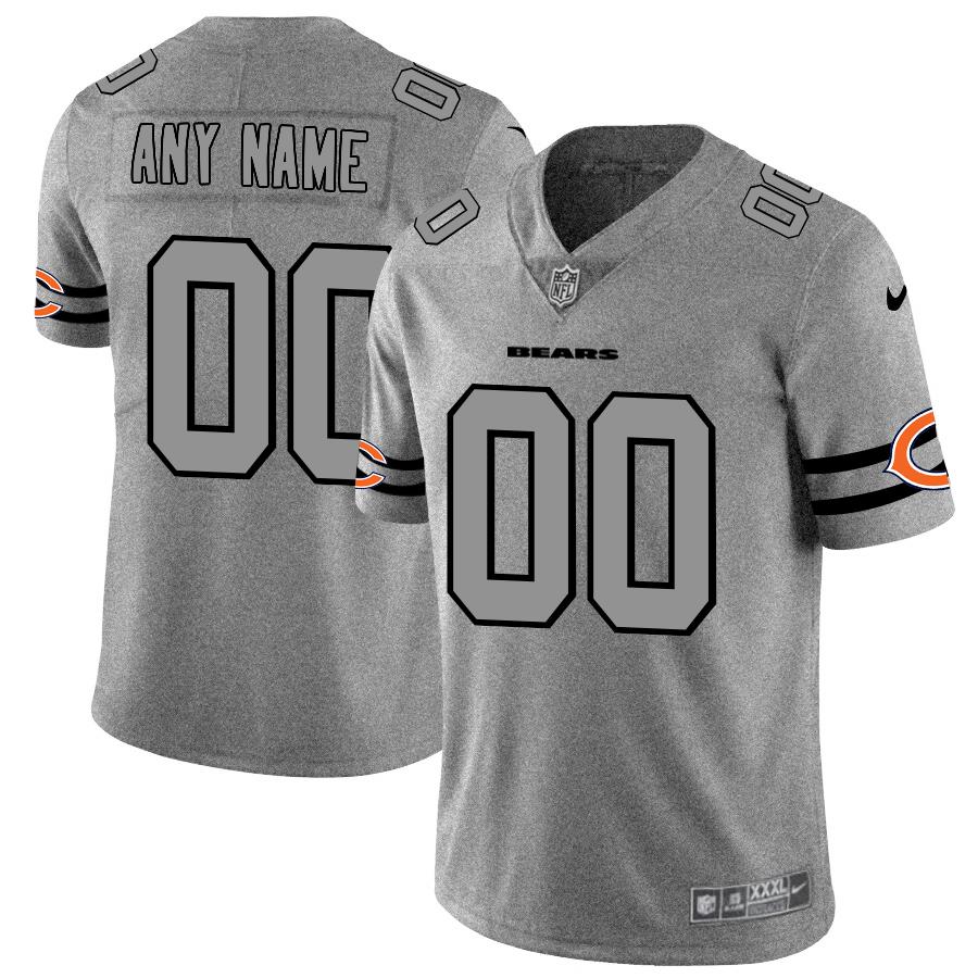 Chicago Bears Custom Men's Nike Gray Gridiron II Vapor Untouchable Limited NFL Jersey