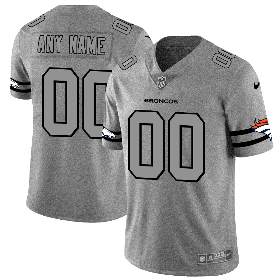 Denver Broncos Custom Men's Nike Gray Gridiron II Vapor Untouchable Limited NFL Jersey