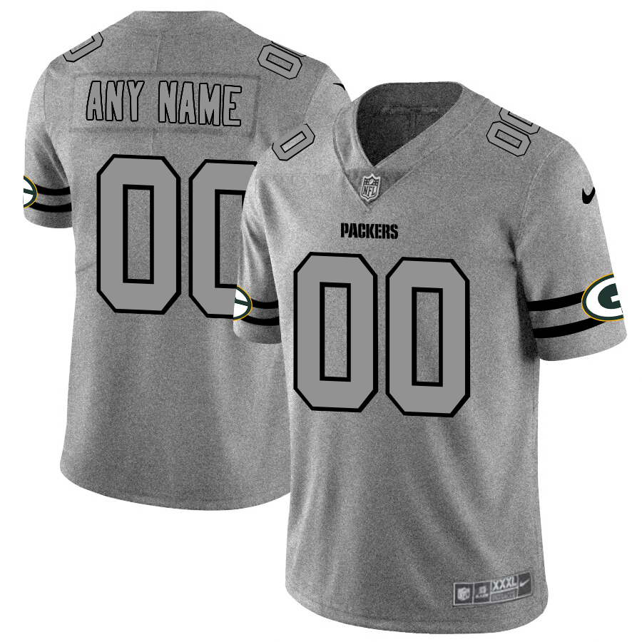 Green Bay Packers Custom Men's Nike Gray Gridiron II Vapor Untouchable Limited NFL Jersey