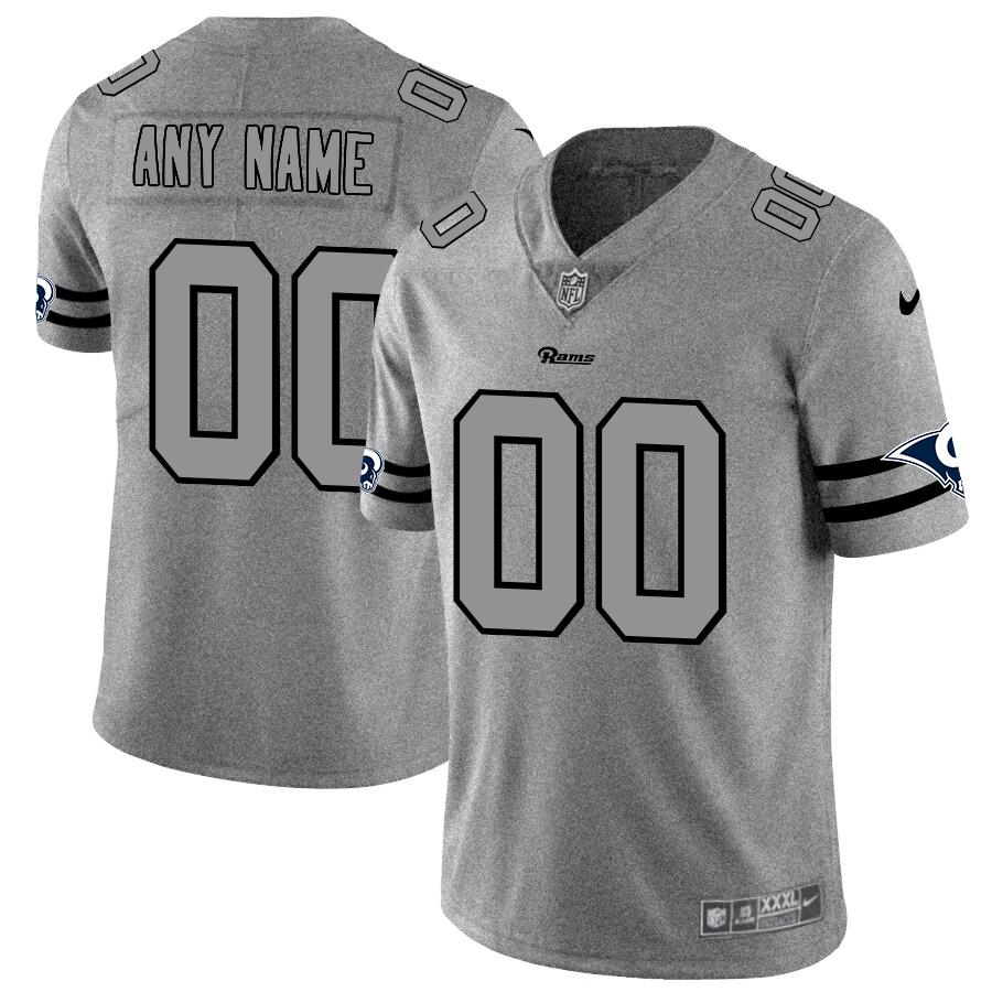 Los Angeles Rams Custom Men's Nike Gray Gridiron II Vapor Untouchable Limited NFL Jersey