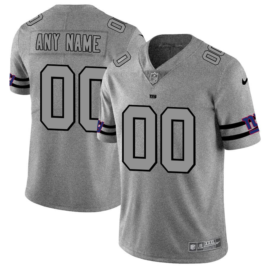 New York Giants Custom Men's Nike Gray Gridiron II Vapor Untouchable Limited NFL Jersey