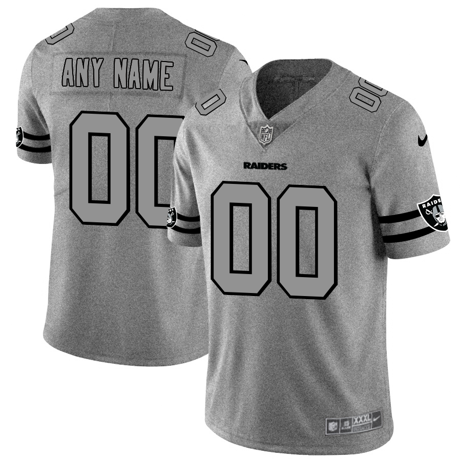 Oakland Raiders Custom Men's Nike Gray Gridiron II Vapor Untouchable Limited NFL Jersey