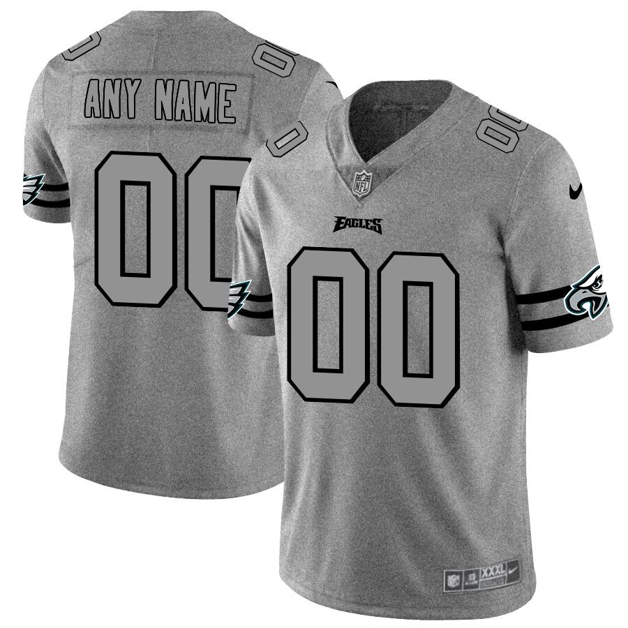 Philadelphia Eagles Custom Men's Nike Gray Gridiron II Vapor Untouchable Limited NFL Jersey