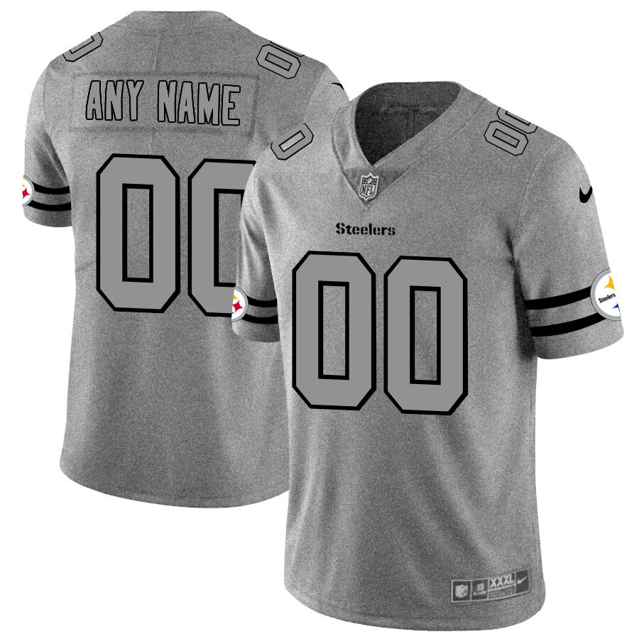 Pittsburgh Steelers Custom Men's Nike Gray Gridiron II Vapor Untouchable Limited NFL Jersey