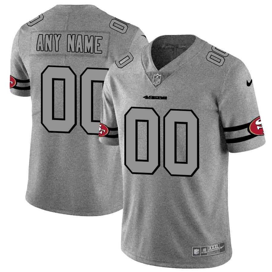 San Francisco 49ers Custom Men's Nike Gray Gridiron II Vapor Untouchable Limited NFL Jersey