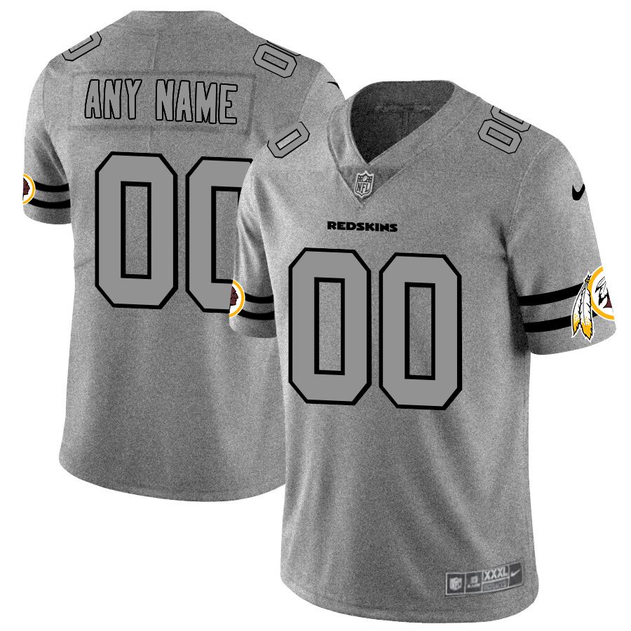 Washington Redskins Custom Men's Nike Gray Gridiron II Vapor Untouchable Limited NFL Jersey