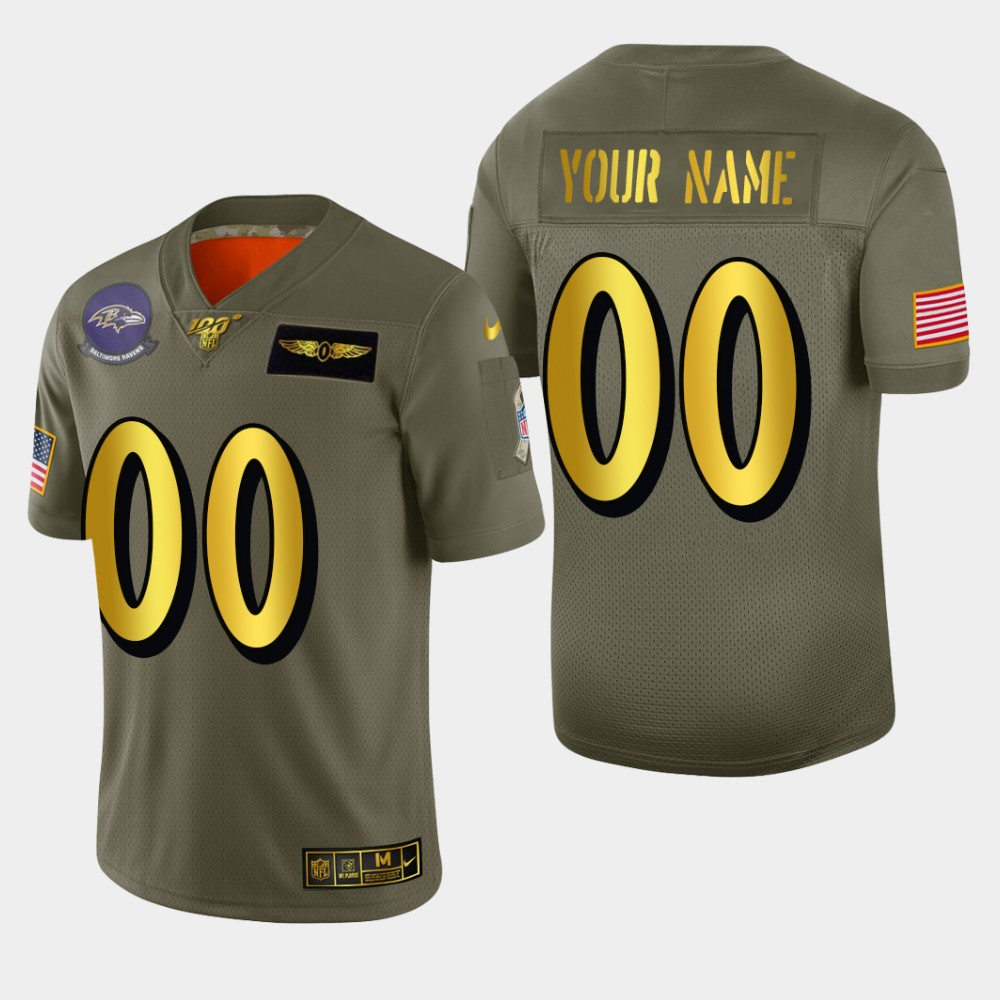 Baltimore Ravens Custom Men's Nike Olive Gold 2019 Salute to Service Limited NFL 100 Jersey