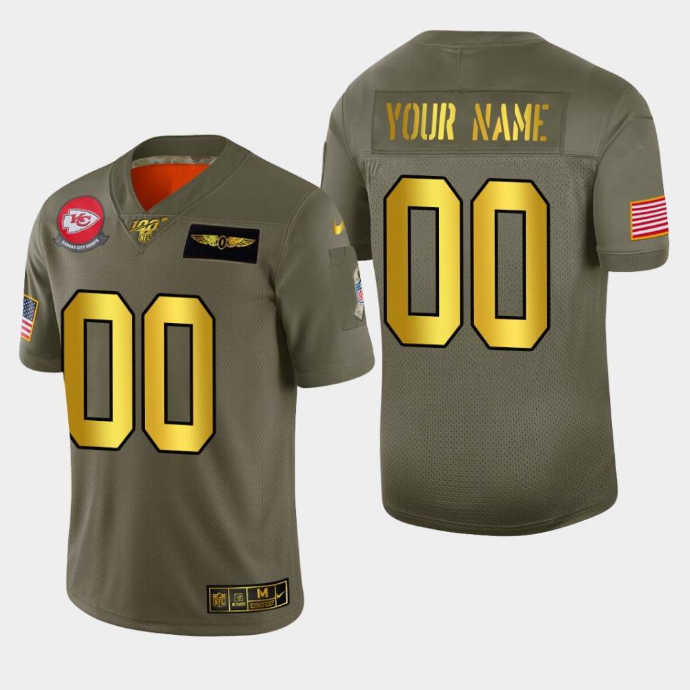Kansas City Chiefs Custom Men's Nike Olive Gold 2019 Salute to Service Limited NFL 100 Jersey