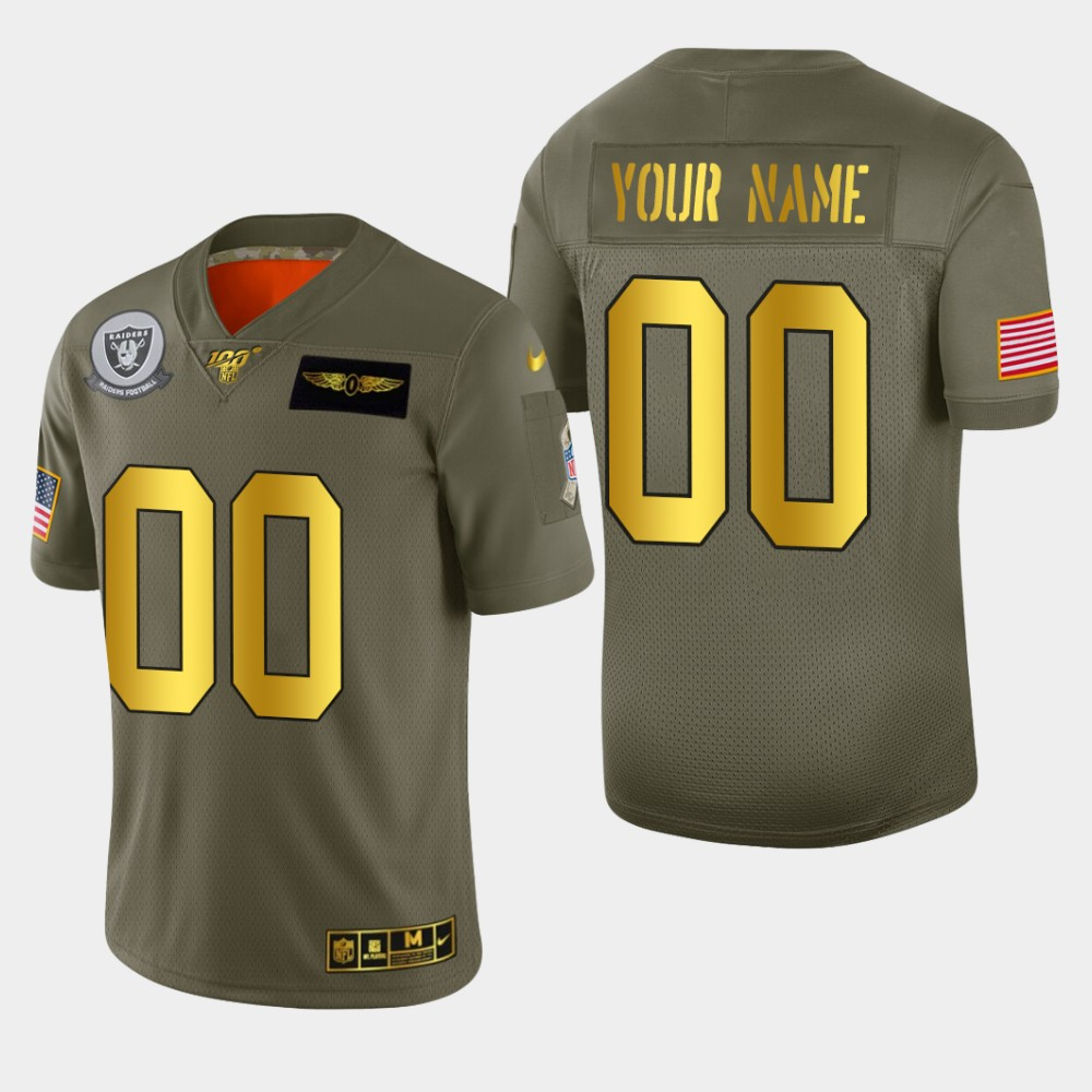Oakland Raiders Custom Men's Nike Olive Gold 2019 Salute to Service Limited NFL 100 Jersey