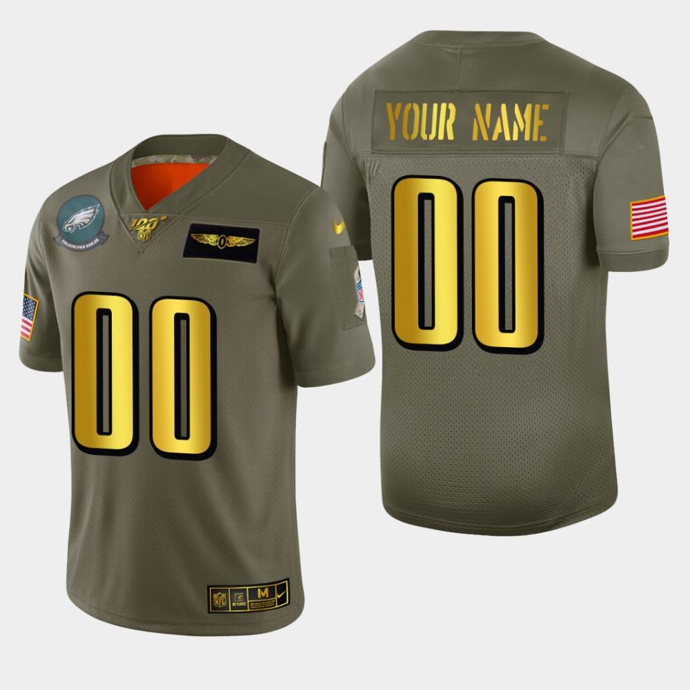 Philadelphia Eagles Custom Men's Nike Olive Gold 2019 Salute to Service Limited NFL 100 Jersey