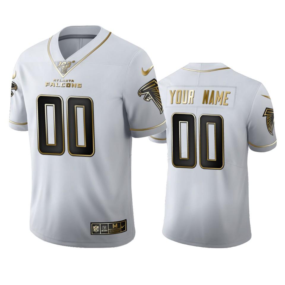 Atlanta Falcons Custom Men's Nike White Golden Edition Vapor Limited NFL 100 Jersey